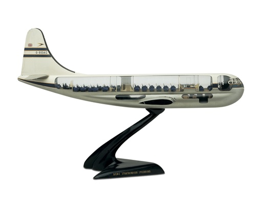 A wood-and-plastic travel agents' model shows the two decks and seating configuration on board the 'double-bubble' Stratocruiser.