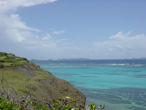 A view o the Caribbean sea from the top of a green covered mountain.