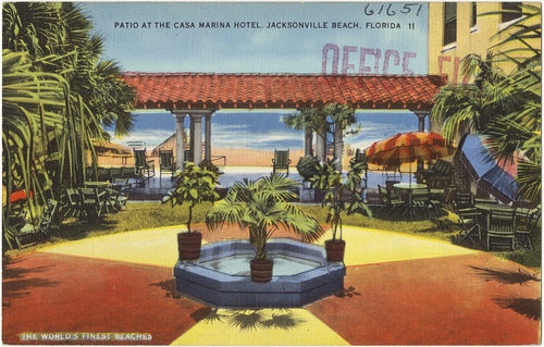 A postcard of the courtyard inside the 1925 Casa Marina hotel.