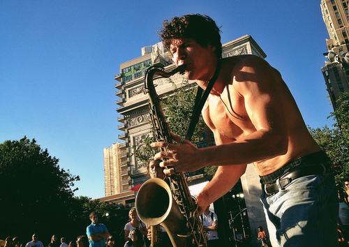 A saxophone player in Washington Square Park, New York