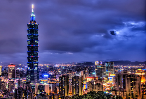 City skyline in Taiwan.