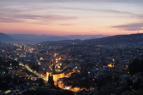 A view from above of the city's valley, Sarajevo, Bosnia and Herzegovnia