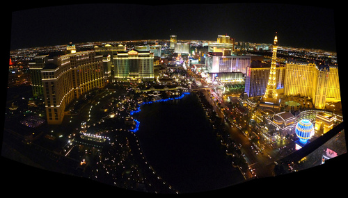 A birds eye view of the Las Vegas Strip at Night