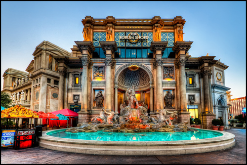 The roccocco exterior of Caesars Palace in Las Vegas