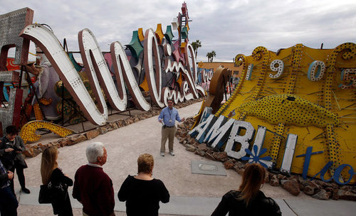 Guests Tour the Neon Museum in Las Vegas