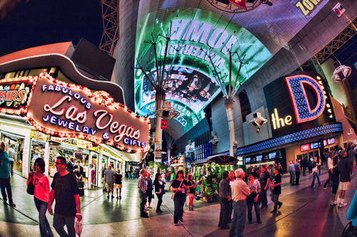 Visitors under the Canopy of Fremont Street in Downtown Las Vegas