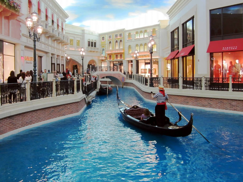 "A Gondolier in ""St. Marks Square"" in the Venetian Casino of Las Vegas"