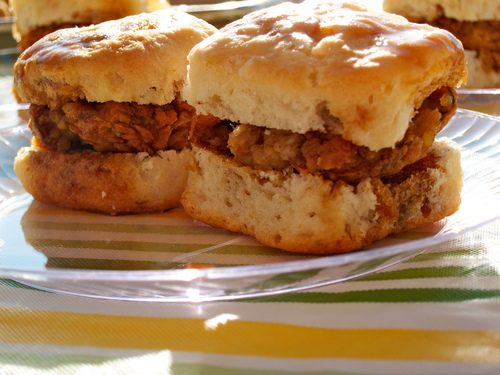 "The ""Sweet Baby Breesus"" a biscuit sandwich with boudin, bacon and cane syrup, is one of this Lafayette hotspot's most popular dishes"