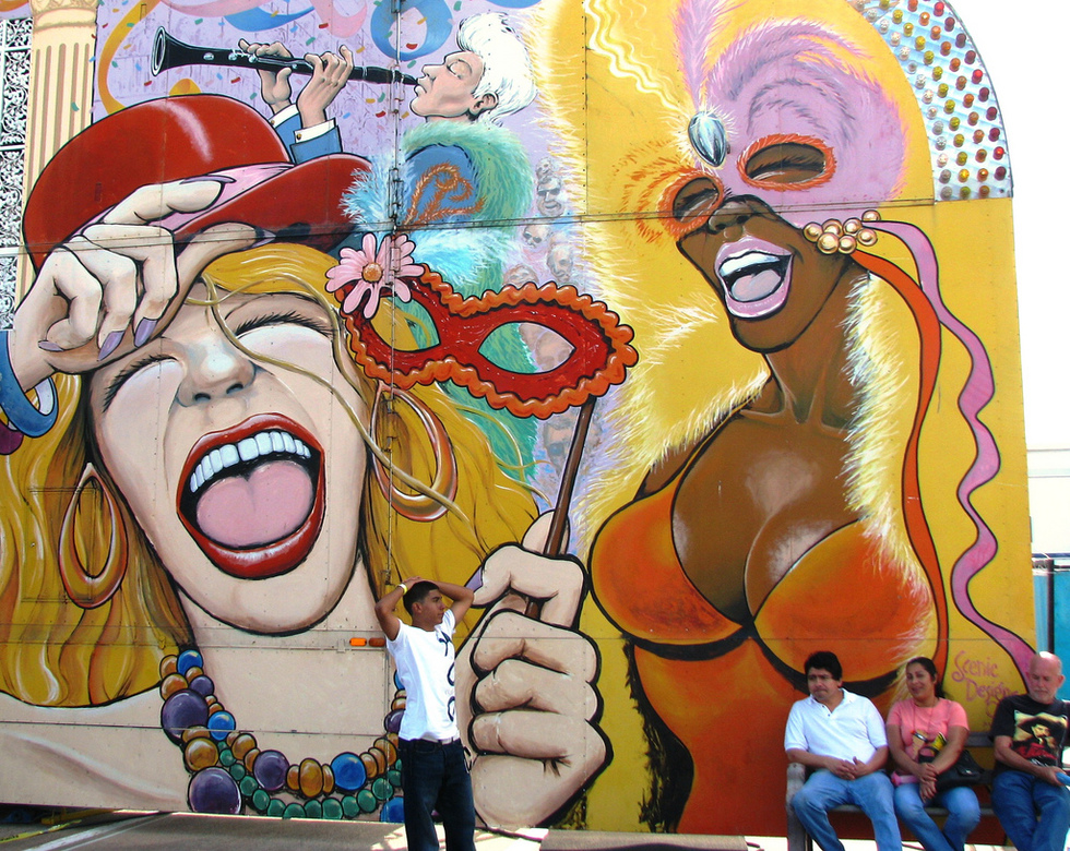 Mural celebrating Louisiana festivals