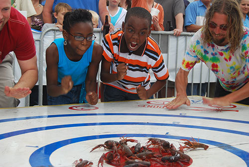 Crawfish races at Breaux Bridge Crawfish Festival, Louisiana