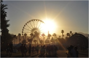 Coachella Music Festival at sunset