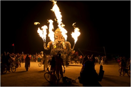 Large burning statue at Burning Man