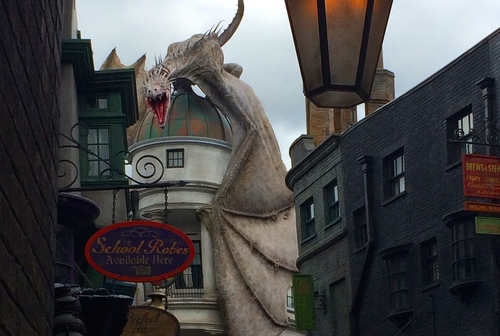 The view up Diagon Alley at Universal Studios Florida.