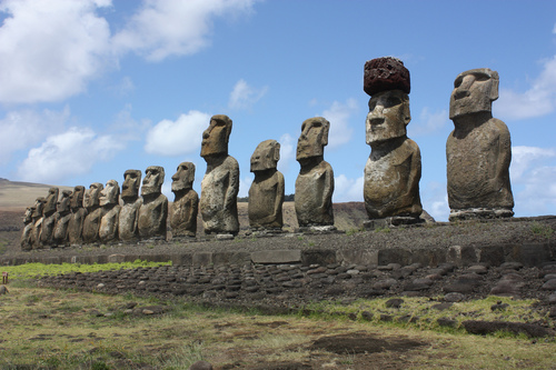 The Giant Moai Statues In A Line On Easter Island