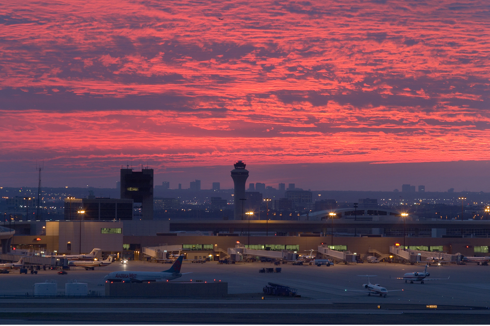 Dallas-Fort Worth airport at sunset