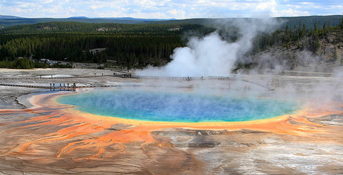 Steam rising from the colorful Grand Prismatic Spring