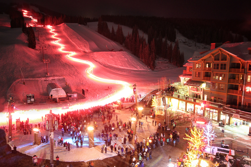 The Copper Mountain resort area spectacularly lit up at night