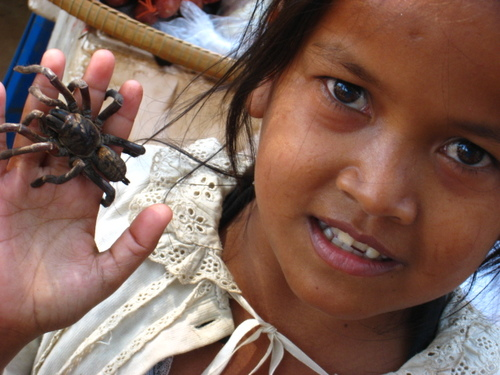 A girl holds a fried tarantula