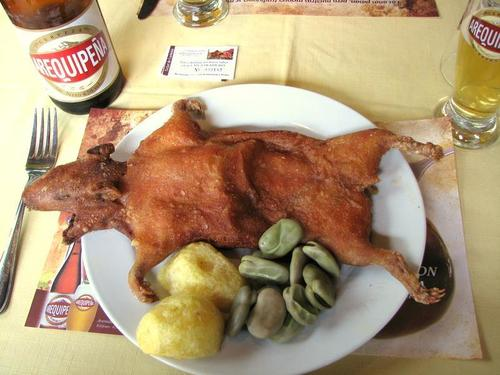 A plate of fried guinea pig (cuy)