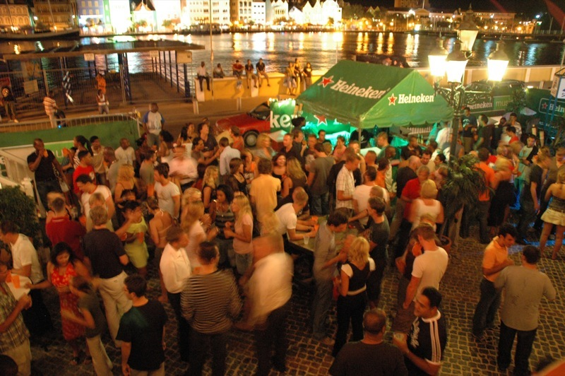 An outdoor party on the streets of Willemstad, Curacao