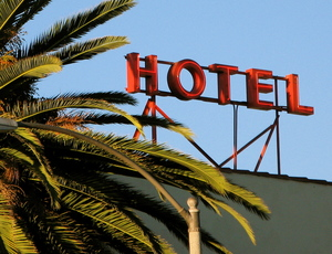 The hotel sign at the famed Hotel California
