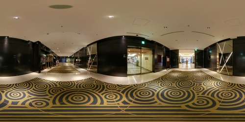 A panoramic view of a hotel lobby in Asia