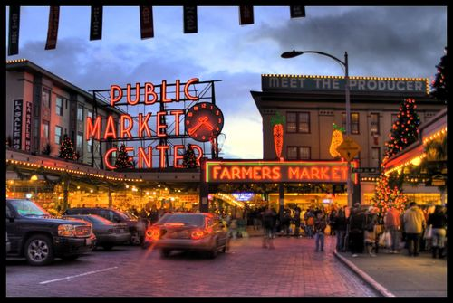 Evening at Pike Place Market in Seattle.