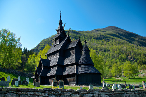 Stave church in Norway landscape