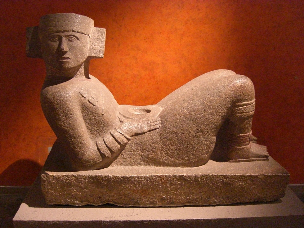 A sculpture of a reclining figure from Mexico City's famed Archeological Museum