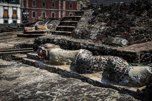 A snake sculpture at the Aztec Templo Mayor in Mexico City