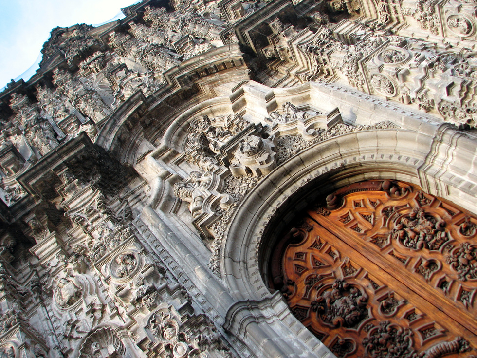 The entrance to the Catedral Metropolitana in Mexico City