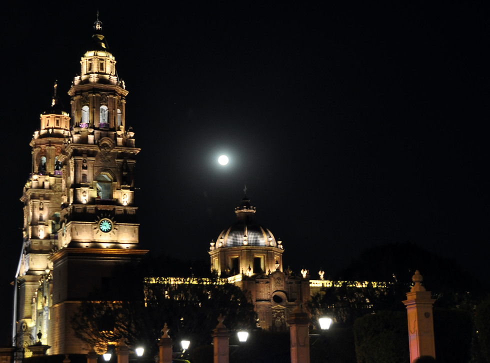 The exterior of Morelia's Cathedral