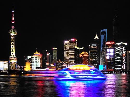 Neon-lit Shanghai city view