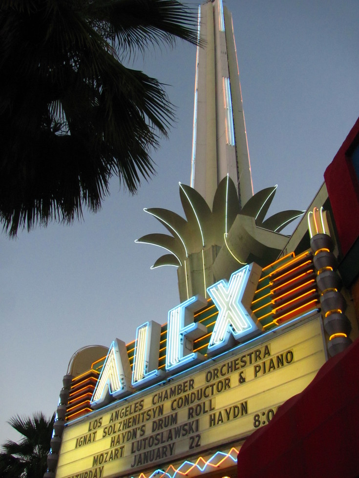 A photo of the sign of the Alex Theatre