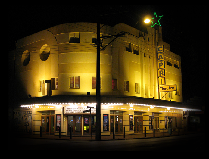 An exterior photo of the Capri Theater