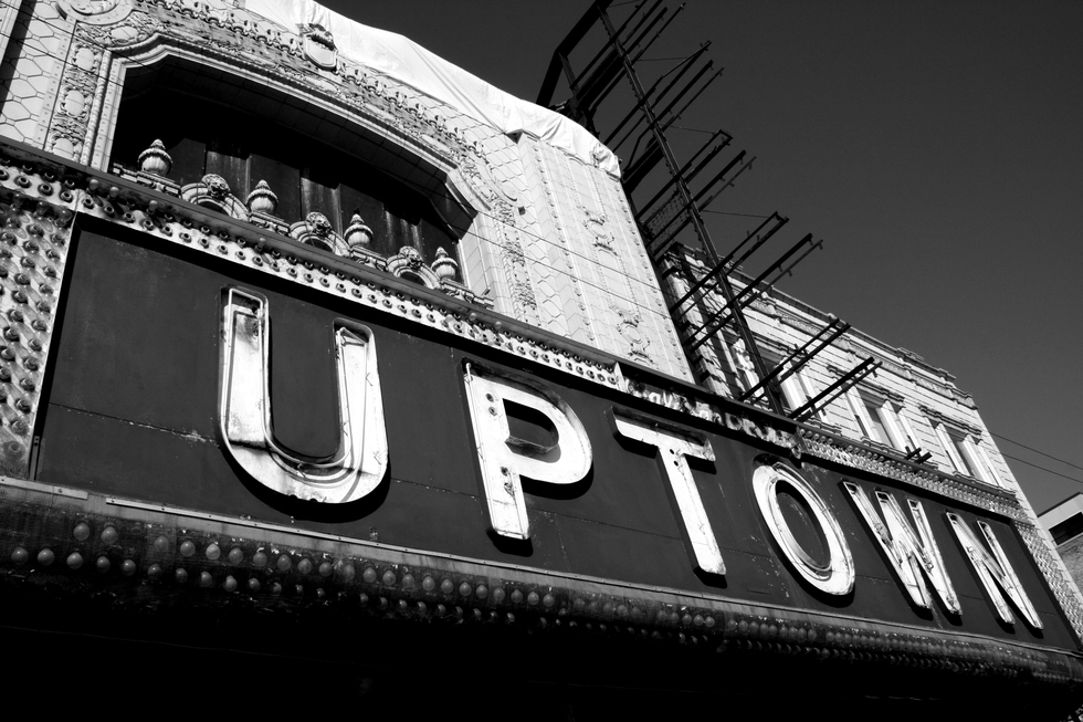 A photo of the sign of the Uptown Theater, Chicago, Illinois