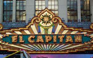 The awning of the El Capitan Theater in Hollywood