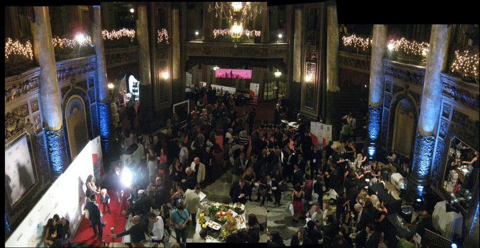 An interior photo of the lobby of Loew's Theater