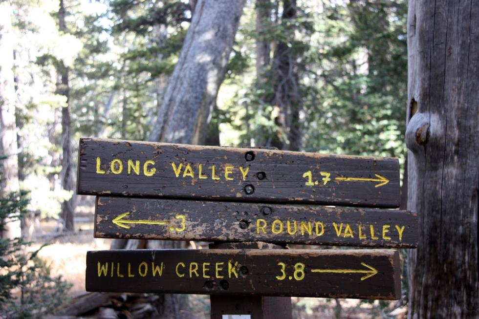A photo of a sign on the Willow Creek Trail