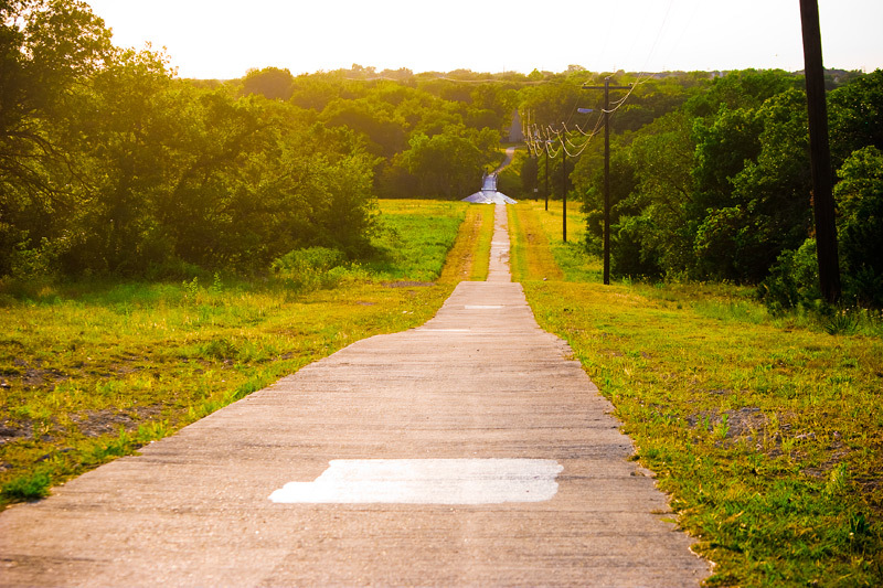 A photo of a road in Texas Hill Country