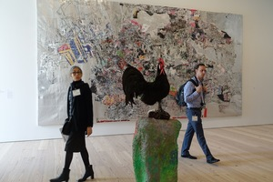 Two visitors eye the art at the Whitney Museum