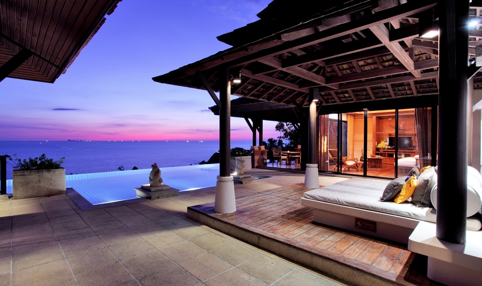 Overlooking the Andaman Sea at dusk from the Pimalai Resort and Spa