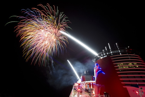 Fireworks above the Disney Dream