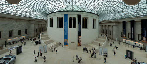 Panoramic aerial view of the lobby of the British Museum