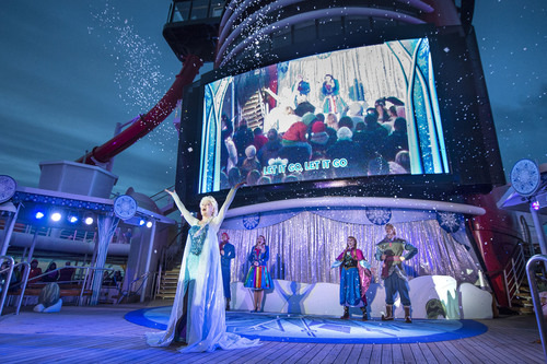 Frozen characters party on Disney Wonder's deck.