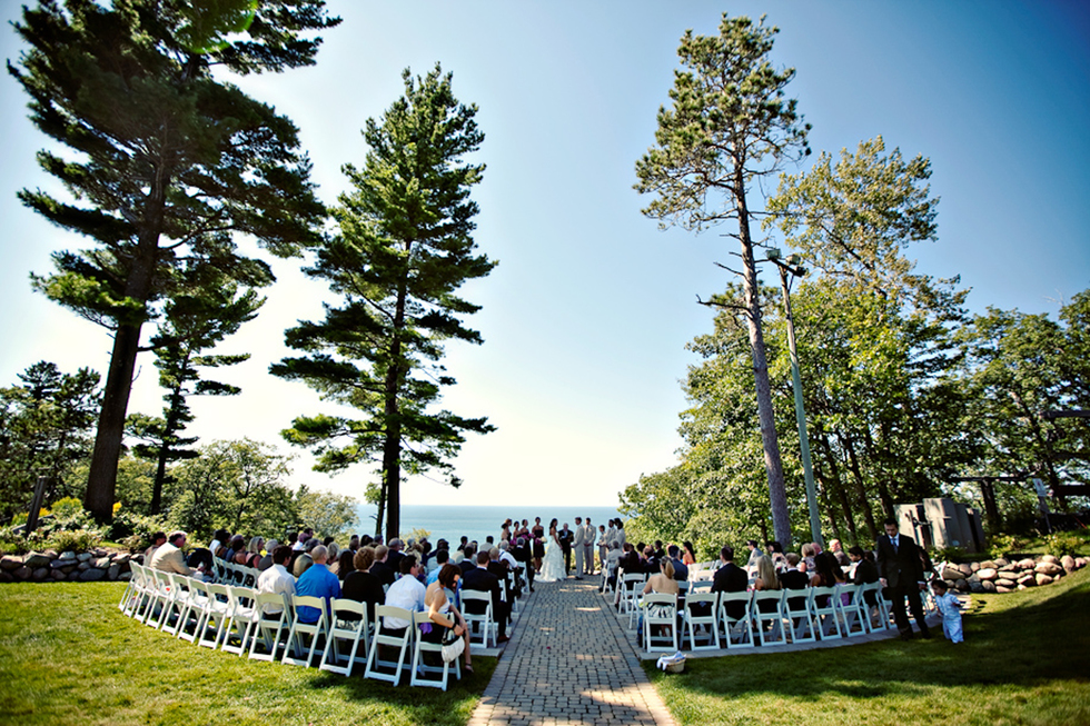 A wedding in front of the lake at The Homestead in Glen Arbor, Michigan