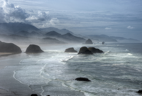 Monoliths jut from the sea just off Cannon Beach in Oregon