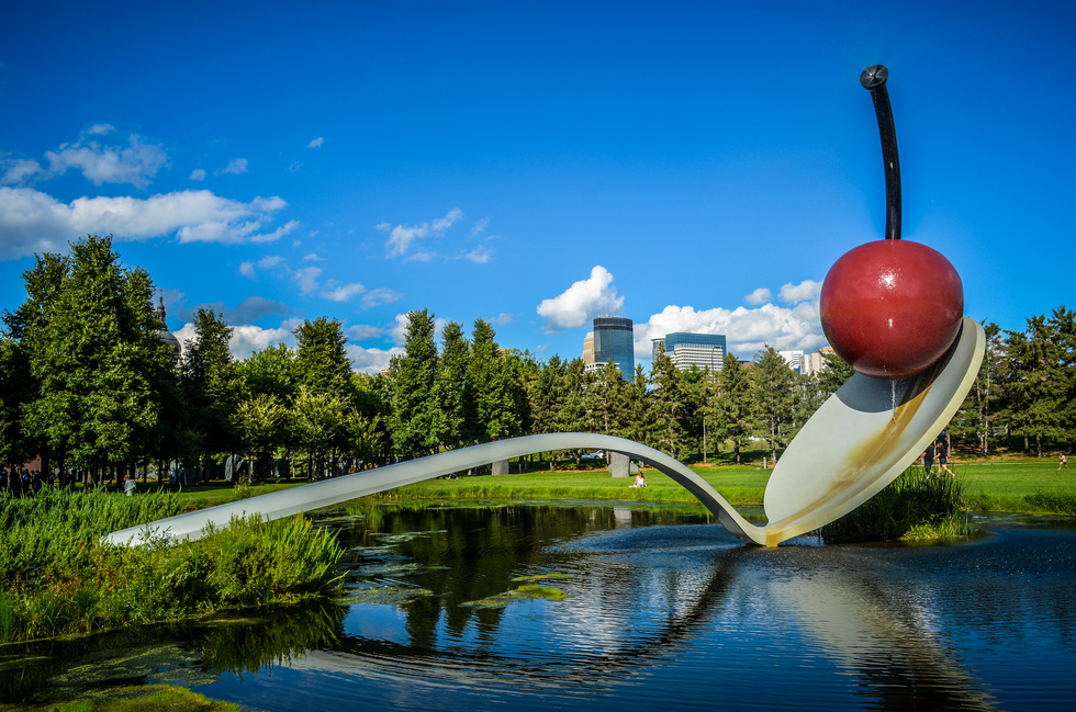 A close-up of Spoonbridge and Cherry, the iconic and massive sculpture, at the Minneapolis Sculpture Garden
