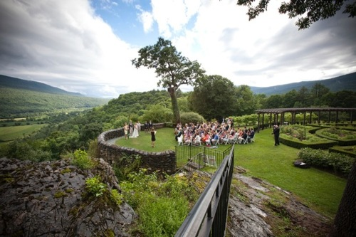 A wedding takes place on the scenic overlook at the Hildene Mansion in Manchester, Vermont