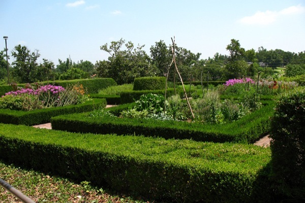 The colonial gardens at the Gilcrease Museum in Tulsa, OK